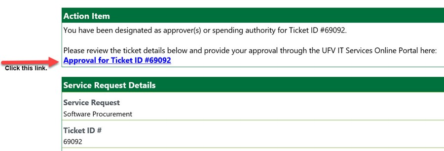 Email Approval Link to the IT Services Portal