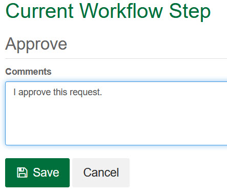 Approval Comment Page