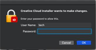 Machine generated alternative text: Creative Cloud Installer wants to make changes.  Enter your password to allow this.  user Name: tech  Password :